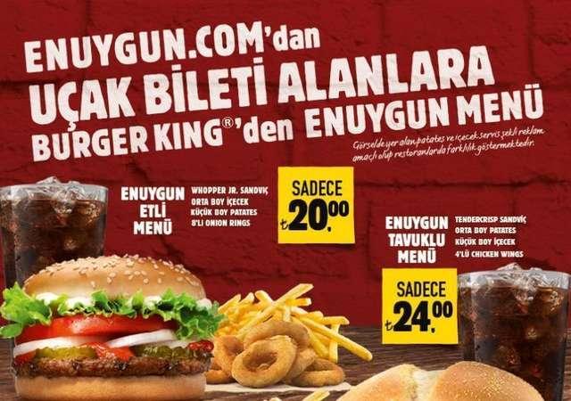ENUYGUN'dan uçak biletini alanlar Burger King'de kazançlı çıkıyor!