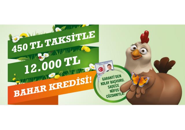 Garanti'den 450 TL'ye 12.000 TL Bahar Kredisi