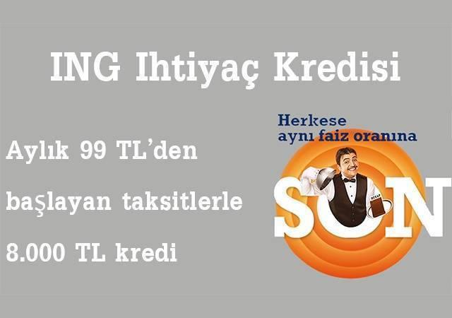 ING Bank'tan 99 TL taksitle 8.000 TL kredi