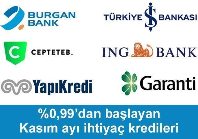 %0,99'dan başlayan Kasım ayı ihtiyaç kredileri